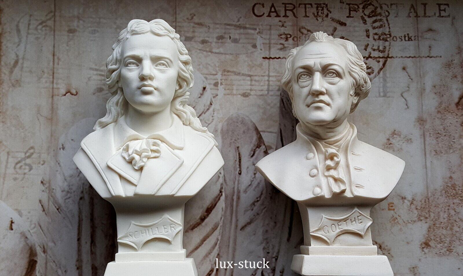 Goethe und Schiller Büste SET Figuren Deko Statue Gips