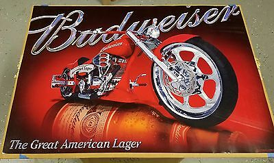 BRAND NEW Budweiser Beer Red Harley Sturgis Chopper Motorcycle Poster