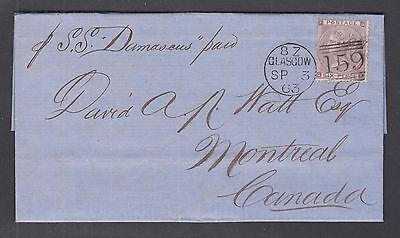 Great Britain Sc 45 on 1863 Transatlantic SFL per SS Damascus Scotland to Canada