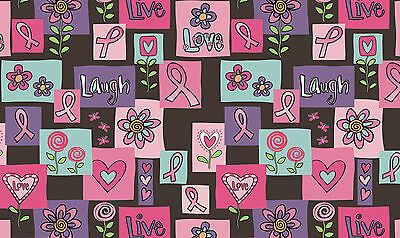 Toland Live Laugh Love Forever 18 x 30 Decorative Pink Ribbon Floor Mat Doormat