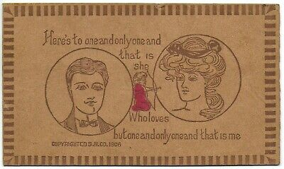 (5885) 1906 Leather Postcard  Young Man and Girl  Loves but One and Only  Me