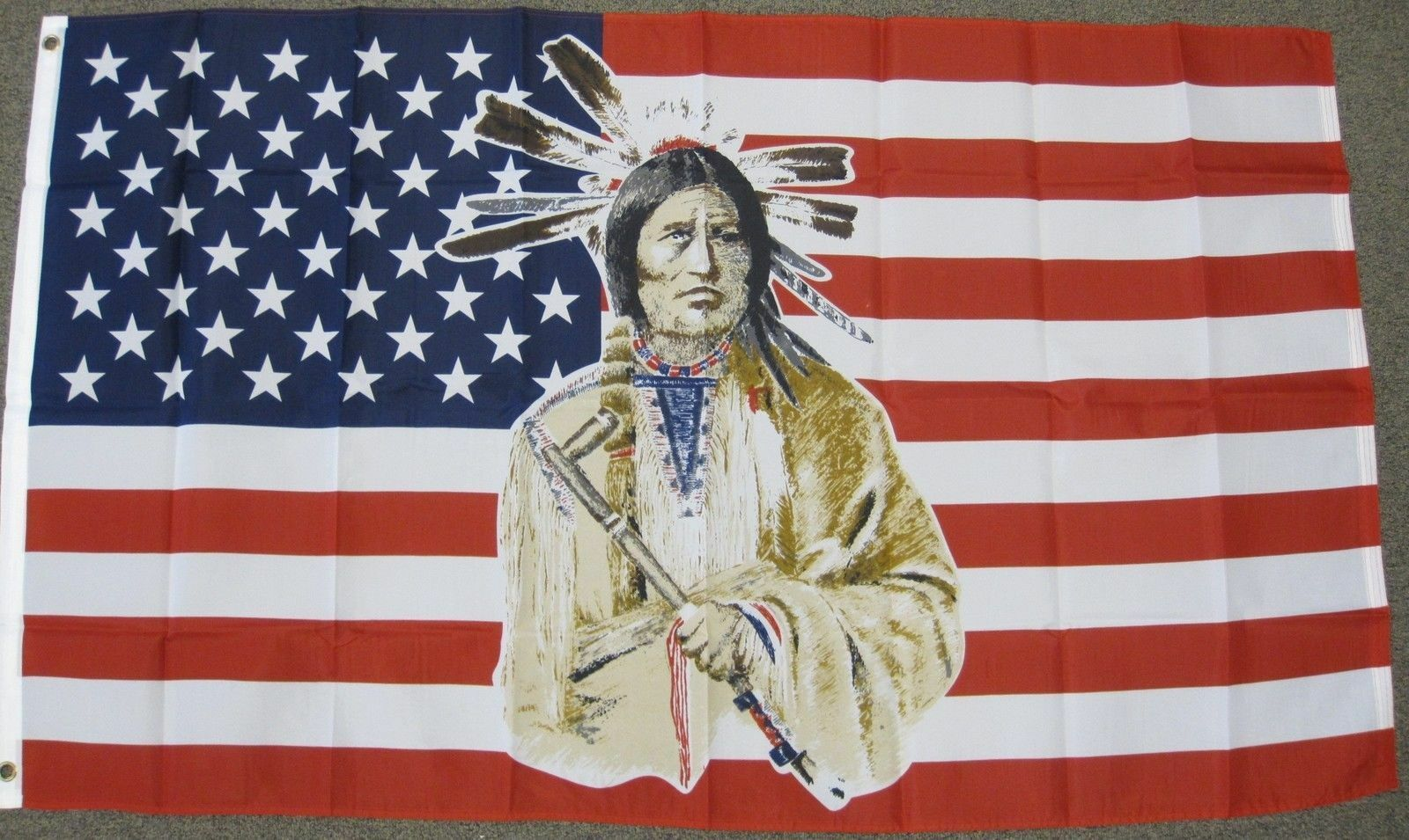 3X5 USA Flag American Flag Indian Native American 3'x5' Bann