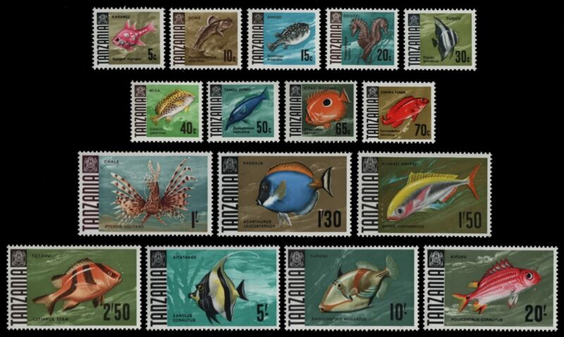 Tansania 1967 - Mi-Nr. 19-34 ** - MNH - Fische / Fish (III)
