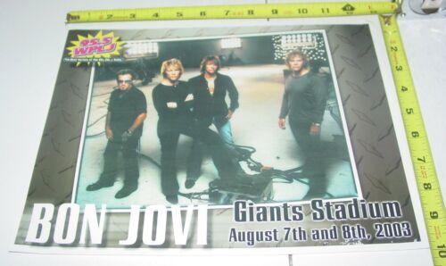 Bon Jovi Promo Concert Ad Card Aug 2003 Giants Stadium East Rutherford NJ Rock