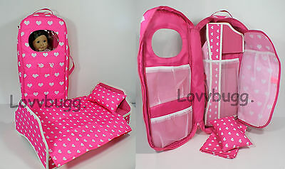"Lovvbugg Best Pink Hearts Carry Case w Bed Trunk Wardrobe for 18"" American Girl Doll Furniture"