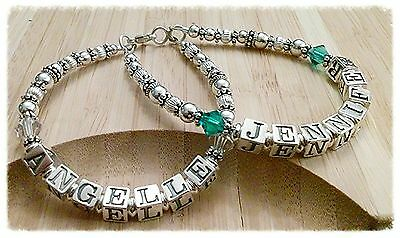 Personalized Mothers Name Birthstone Bracelet Sterling Beads 2 Names/2 Strands (Strand Mothers Birthstone Bracelet)