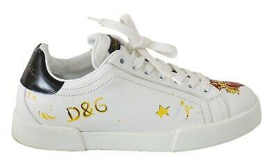 DOLCE & GABBANA Shoes Sneakers White Leather Handpainted Casual Mens EU40/ US7