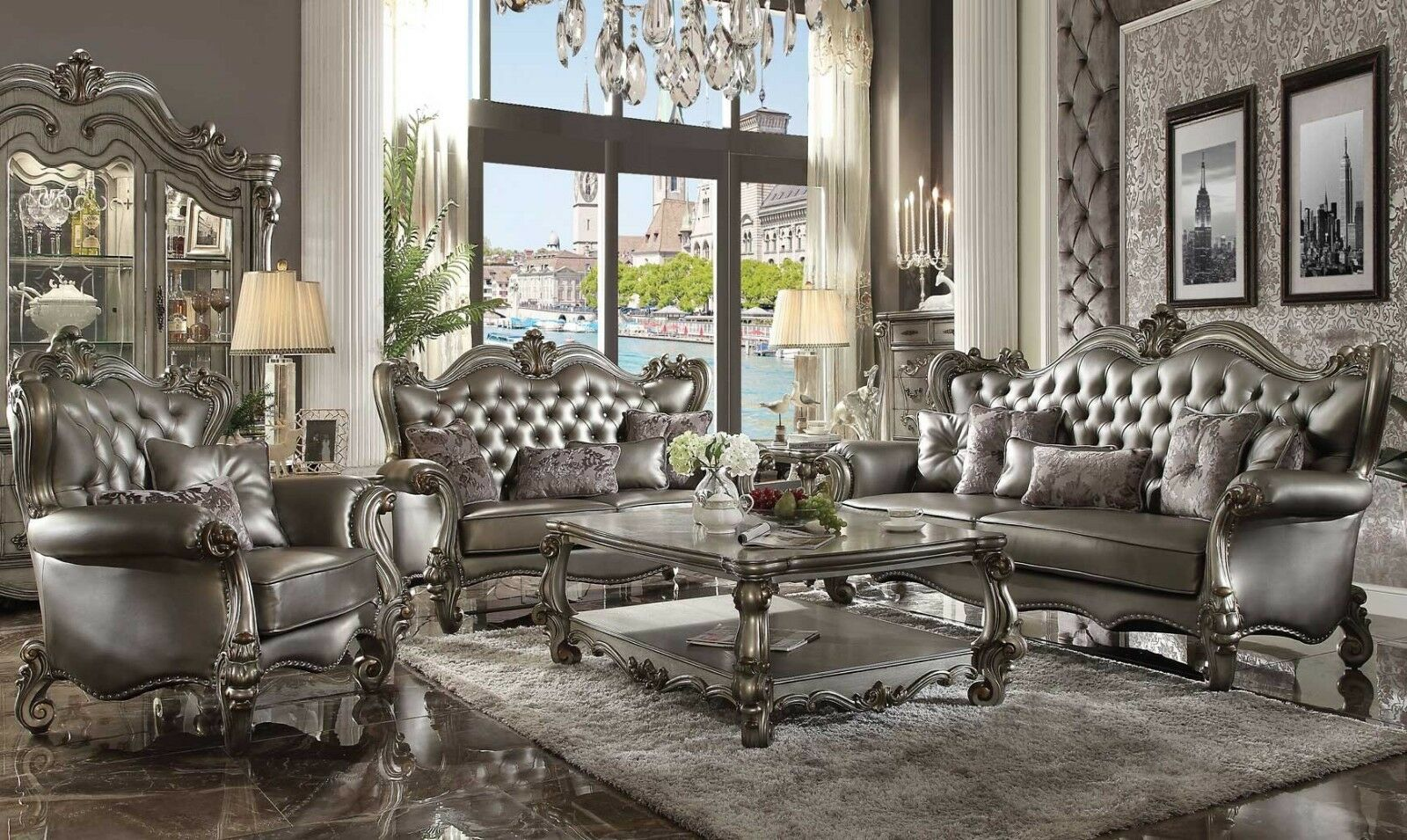 Acme Furniture Versailles Silver Antique Sofa and Loveseat