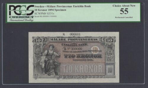Sweden Enskilda Bank 10 Kronor 1894 PS331s Litt K Specimen About Uncirculated