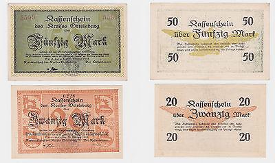 20 Und 50 Mark Banknoten Notgeld Kreis Ortelsburg Szczytno 30.10.1918 (119962)