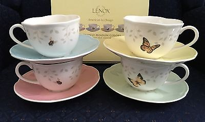 Set of 4 Lenox Butterfly Meadow COLORS Cup and Saucer sets First Quality PERFECT