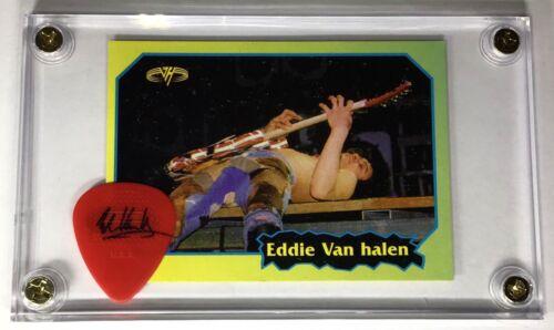 Very Rare Eddie Van Halen group Argentina trading card #97 + guitar pick display