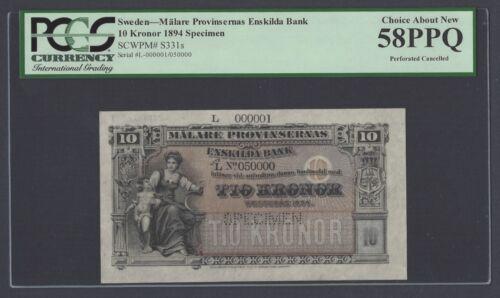 Sweden Enskilda Bank 10 Kronor 1894 PS331s Litt L Specimen About Uncirculated