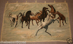 1960s-Belgian-Tapestry-Wild-Horses-Wall-Hanging-W125cm-50-034-Mustangs-Brown-Green