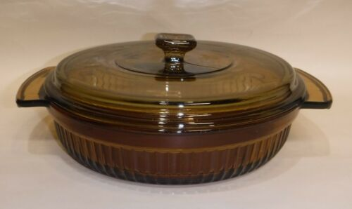 Anchor Hocking ~ Covered Casserole Dish ~ 1 Qt ~ Amber Glass