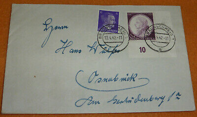 3.Reich Eckrandstück Brief 1942 Mi.-Nr.810 Mozart Braunschweig Osnabrück Eckrand