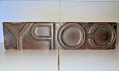 Antique Copper Large Copy Letterpress Print Wood Type 1 12 X 6 14