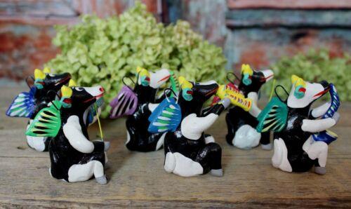 Set 6 Angel Cow Musician Ornaments Clay Ortega Handmade Mexican Folk Art Tonala