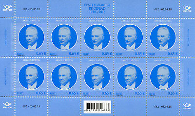 Estonia 2018 MNH Arnold Ruutel Heads of State 10v M/S Politicians Stamps