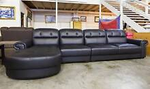 New 3 Seater + Chaise Lounge Set Black Leather WAS $2499 ON SALE Roselands Canterbury Area Preview