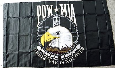 POW MIA THEIR WAR IS NOT OVER NOT FORGOTTEN POLYESTER FLAG 3 X 5 FEET