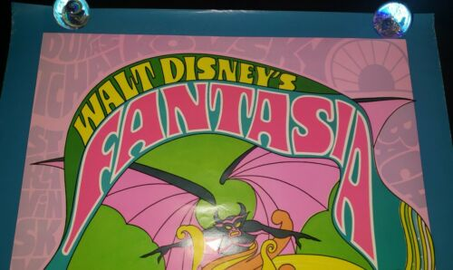 1970 FANTASIA DISNEY RE-RELEASE ROLLED  ORIGINAL 27x41 MOVIE POSTER mickey mouse