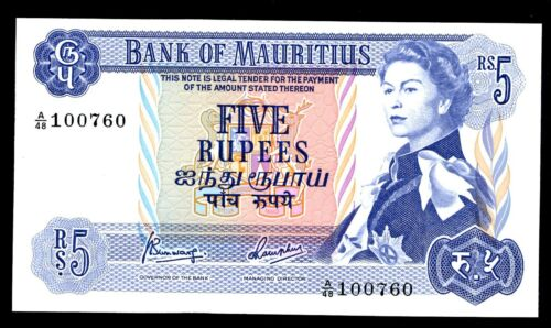 Mauritius … P-30c … 5 Rupees … ND(1967) ... * CHOICE UNC *   Sing 4.