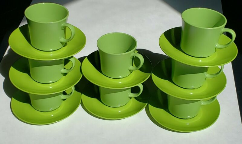Texas Ware Cups/Mugs and Saucers Green (set of 8)