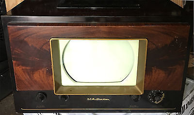 "Vintage 1940's RCA VICTOR 8-T-241 B&W Tube Television 10"" Table Top TV Working"