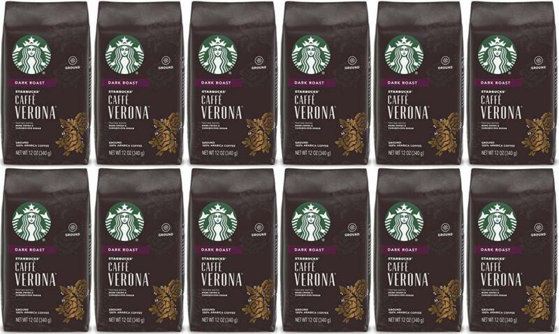 12 PACK Starbucks Verona Dark Roast Ground Coffee 12oz Bags Best Before 2/2021