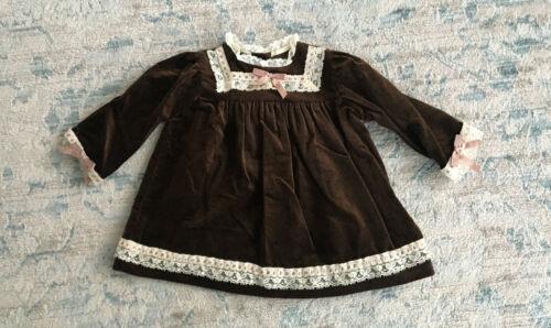 Vintage Her Majesty Toddler Girl Brown Velvet Long Sleeve Dress Size 2T