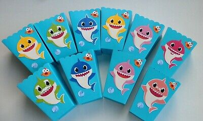 Party Favor Popcorn Boxes (Baby Shark Party Favors - popcorn-candy boxes - birthday - baby shower SET OF)