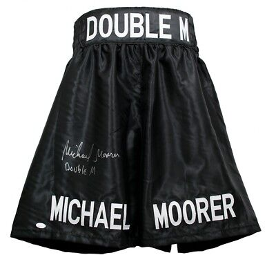 """Double M"" Michael Moorer signed custom boxing trunks. JSA Certified Autographed Custom Boxing Trunks"