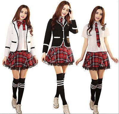Japanese School Girl Cute Sailor Uniform Dress Skirt T-shirt Cosplay Costume D01 (Cute School Girl Costume)