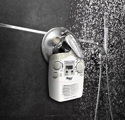 Clock AM/FM Radio Readout Bathroom Music Relax Enjoy Waterproof Hanging Shower