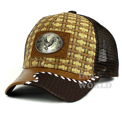- Straw Woven hat ROOSTER patched Mesh Trucker Snapback Western Baseball cap-Brown