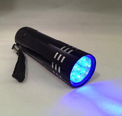 Black Mini Aluminum UV ULTRA VIOLET 9 LED FLASHLIGHT BLACKLI