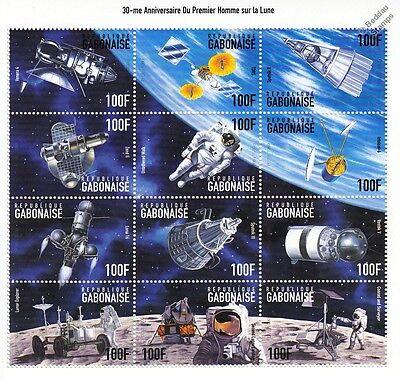 APOLLO XI Moon Landing/Lunar Explorer/Sputnik Space Stamp Sheet (1999 Gabon)