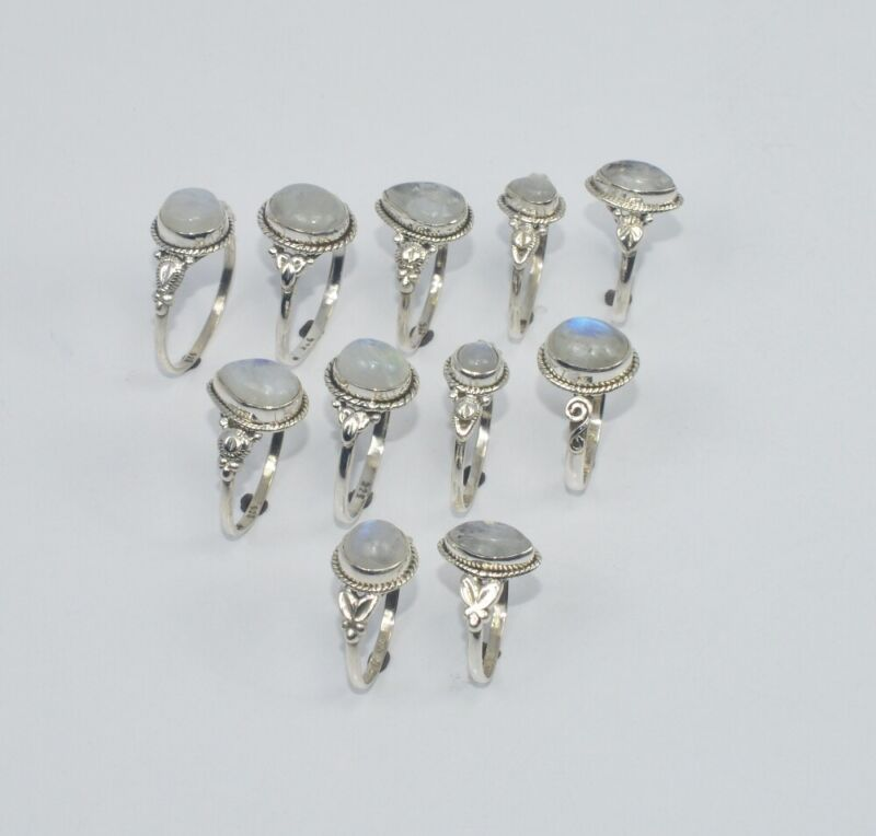 WHOLESALE 11PC925 SOLID STERLING SILVER WHITE RAINBOW MOON STONE RING LOT  O R18
