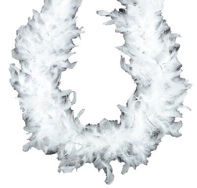 White with Silver Lurex 45 gm 6 ft Chandelle Feather Boa