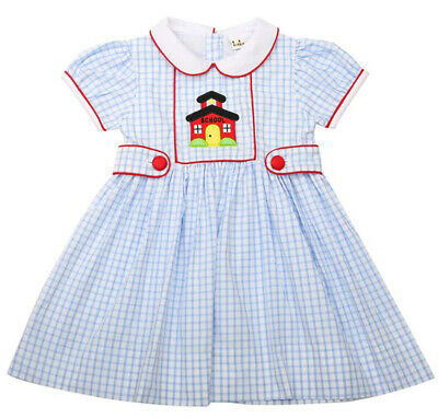 Girls Dress Schoolhouse Applique Blue Check Babeeni 6m-6 years New Sibling Sets
