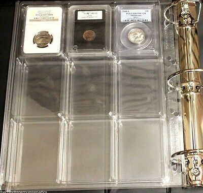 2 Lighthouse ENCAP Certified Slab Coin Album Binder Pages for NGC PCGS QUICKSLAB