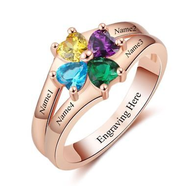 Personalized 14k Rose Gold IP 4 Heart Birthstone & 4 Name Mothers Family Ring ()