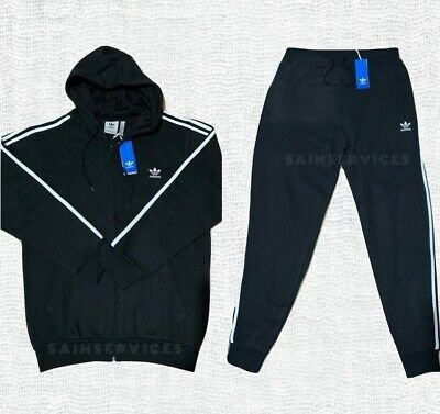 Adidas Original 3-Stripe Mens Trefoil Tracksuit French Terry Zipper Sweat pants