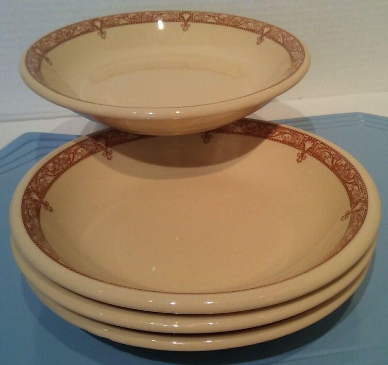 "4 Vintage SHENANGO CHINA Inca ware 7 1/4"" COUPE CEREAL BOWLS Edgemere Restaurant"