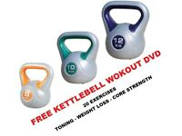 Kettlebell Set 8-10-12kg Fitness Weights Vinyl Kettlebell Set Free DVD NEW