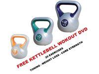 Kettlebell Set 8-10-12kg Fitness Weights Vinyl Kettlebell Set Free DVD: NEW
