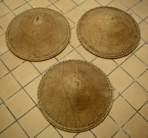 Set of 3 Vintage Woven Conical Asian Coolie Straw Hats