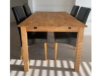 4-6 Seater Extendable Table & 4 Faux Leather Black Dining Chairs