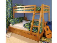 TRIPLE BUNK BED 3FT SINGLE & 4FT SMALL DOUBLE IMMACULATE CONDITION